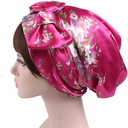 Wholesale Scarf Hair Wraps - Satin Bowknot Headscarf Floral Printed Sleeping Bonnet Long Tail Silk Head Scarf Bandanas Chemo Cap Womens Hair Wrap Hats