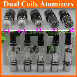 Wholesale Glass Globe Herb - Dual Coil Globe Atomizer Glass Tank Dome Wax For Vaporizer Dry Herb Double Ceramic Titanium Wick 2015 Top Fashion Direct Selling ATB029