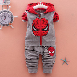 Wholesale Winter Baby Sweatshirt Set - Autumn Spring Tracksuit Baby Boy Sports Suits Kids Clothes Spiderman Hoodies Sweatshirt Children Boys Cartoon Clothing Sets
