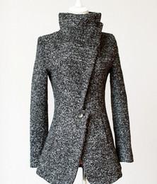 Gabardina de invierno mujer gris online-Venta al por mayor-2015 Nueva ropa de invierno de un botón de la solapa más el tamaño de abrigo de lana Trench Grey