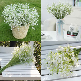 Wholesale Baby Decoration Home - 12Pcs lot Gypsophila silk baby breath Artificial Fake Silk Flowers Plant Home Wedding Party Home Decoration High Quanlity