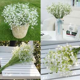 Wholesale White Gypsophila Flowers - 12Pcs lot Gypsophila silk baby breath Artificial Fake Silk Flowers Plant Home Wedding Party Home Decoration High Quanlity