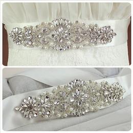Wholesale Ivory Rhinestone Wedding Belt - Ivory 2016 Lucxury Crystal Sash Bridal Wedding Dress Belts Bow bridal belt sash bridal Pearls belts W6506