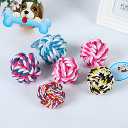 Wholesale Squeak Ball - Pet Puppy Chew Toys Pets Rope Bite Ball Toys Colorful Squeak Toys for Small Dog Cat