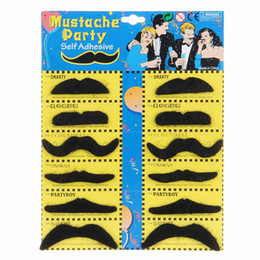 Wholesale Fake Cosplay Beards - Party Fake Mustache Halloween Decorations Cosplay Costume Novelty Funny Beard Handlebar Mustaches Moustache For Birthday Christmas Gift 12pc