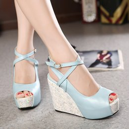 Wholesale High Heel 4cm - Newest Material Joining Peep Toe 4cm High platform wedge heel shoes Color Bump Cheap Designer Shoes