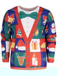 Wholesale Christmas Tree Sweatshirt - New Christmas 2017 fashion t shirt men women's fall Autumn winter pullover hoodies sweatshirt Long Sleeve Hoodies 3D print Tree Santa Print