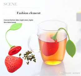 Wholesale Tea Infuser Cup Wholesale - Strawberry Shape Silicon Tea Infuser Strainer Silicon Tea Filler Bag Ball Dipper Tea Tools Cup Hanger 50pcs
