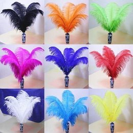 Wholesale Turquoise Black Wedding Decorations - 14-16Inch White black red pink royal blue turquoise orange purple Ostrich Feather Plumes for Wedding centerpiece table centerpiece