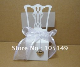 Wholesale Wedding Name Cards Chair - Wholesale-Free shipping 250pcs lot wedding Miniature white Chair Favor Box with accessories Wholesale and Retail (name card including)