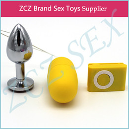 Wholesale Masturbators Butt - ZCZ Stainless steel butt plug and MP3 vibration Masturbators Insert Stainless Steel Metal Plated Jeweled Sexy Stopper CR025-5