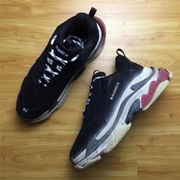 "Wholesale Men S Lace - 2017Balenciaga Triple S WASHED SHOW SNEA BEIGE RESILLE DOUB RESILLE ALV NUBUC JAU BEI VER NR GRIS Running Shoes Black Red ""Dad Shoe"""
