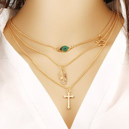 Wholesale Vintage Rhinestone Cross Necklace - Trendy Jewelry New Fashion Gold Plated Multilayer Collar Vintage Chain Necklace For Women Accessories