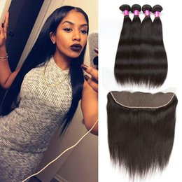 Wholesale Wholesale Virgin Hair Companies - Brazilian Peruvian Straight Human Hair Weave Bundles Straight Weaves Style 4pcs with Lace Frontal Closure and Bundles Remy Hair Company
