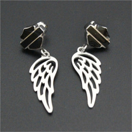 Wholesale Usa Wings - 2pairs lot USA biker style new arrival angle wings earrings 316l stainless steel fashion jewelry motorbiker hot selling earrings