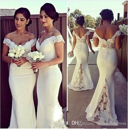 Wholesale Corset Wedding Dress Chiffon - 2017 Lace Off Shoulder Mermaid Elegant Long Formal Dresses Women Sweep Train Corset Bridesmaid Dresses For Wedding Covered Button Back Dress