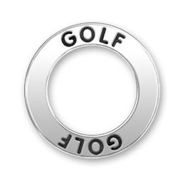 Wholesale Golf Charms Jewelry - Hot Sale Antique Silver Plated Sport Charms Engraved Message Golf Circle Shape DIY Charms For Jewelry Making 100PCS Lot (186408)