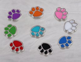 Wholesale Enamel Floating Charms - Floating lockets Charms Dogs Paw Print Cats Enamel Vintage Silver For Floating Locket 30mm Bracelet Fashion Jewelry Alloy Making Gifts A36