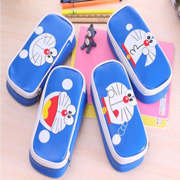 Wholesale Doraemon Pen Pencil - 100Pcs lot Kawaii BIG Volume PU Doraemon School Kids Pen Pencil BAG Case Cosmetics purse bag Wallet coin bag