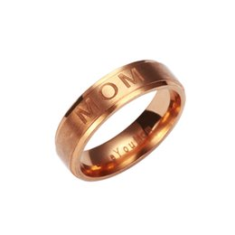 Wholesale Ladies Jewelry Rings - MOM Carving Women Ring Ladies Elegant Delicate Finger Knuckle Rings Charm Love You Mom Ring Jewelry Mother'S Day Gift 080264