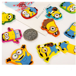 Wholesale Cute Fridge Magnet Toy - 10 colors Minions Microwave Fridge Magnets cute Silicone Messages posted Magnet lovely note Magnetic nail decoration kids toy 200058