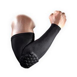 Anti-colisão on-line-1 PC Suporte Elástico Do Favo De Mel Respirável Protetor de Cotovelo Protetor Anti-Colisão Braço de Manga Longa Brace Envoltório Guarda Sports Safety knee pads
