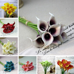 Wholesale Silk Calla Lily Bouquets - New Calla Lilly Fake Flowers Silk Plastic Artificial Lily Bouquets For Bridal Wedding Bouquet Home Decoration Fake Flowers 8 Colors