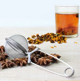 Wholesale Mesh Infuser Spoon - Loose Spring Stainless Steel Spoon Tea Mesh Ball Infuser Filter Teaspoon Squeeze Strainer Wedding Favor Gift Wholesale BY DHL Free Shipping