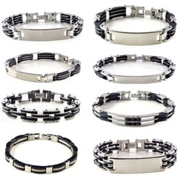 Wholesale Silicone Cuffs - Wholesale-Silicone Stainless Steel Bracelet For Men Silver Stainless Steel Black Silicone Stainless Steel Chain Bangle Cuff Bracelet