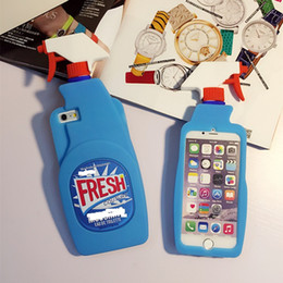 Wholesale Wholesale Fragrance Bottles - Fresh Couture Fragrance Cleaning Light Blue Spray Bottle Soft Rubber Silicone Case For iPhone 5 6 6S Plus 7 7 Plus 8 8 8 PLUS X