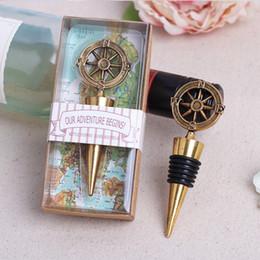 Wholesale Vintage Nautical Compass - 50pcs Vintage Nautical Compass Chrome Wine Bottle Stopper Wedding Party Gift Favor Wedding Decoratio Favorsn New