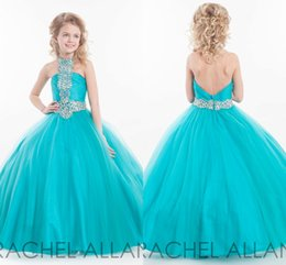 Wholesale Halter Princess Pageant Dresses - Rachel Allan Little Girls Pageant Dresses 2016 Princess Halter Sleeveless Crystal Beading Ice Blue Tulle Flower Girls Dress Birthday gowns