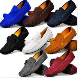 Wholesale Blue Car Shoes - Free Shipping US6-12 GENUINE Leather Comfort SLIP-ON Penny Loafers Mens Car Shoes Moccasins Fashion