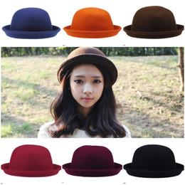 Wholesale Men Stylish Wool Hats - Unisex Stylish Cashmere Hat Autumn Bowler Hats Trendy Stingy Brim Hats Colors Choose DDP*1