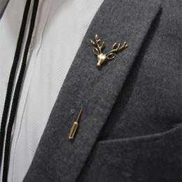 Wholesale China Brand Suits - New Brand Design Men Retro Brooch Popular Plug Deer brooch Pins Collar Pin Up Accessory Unisex Suit Badge Brooch Jewelry