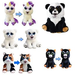 Wholesale Christmas Stuffed Panda Bear - Change Face Feisty Pets Plush Bear Dog Monkey Toys With Funny Expression Stuffed Animal Doll For Kids Christmas Gift z086-1