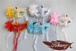 Wholesale Cheap Masquerade Party Decorations - Cheap Party Mask With Flower And Lace Halloween Mask Masquerade Mask Female Mask For Adult Sex Mask Party Decoration 10pcs lot Free Shipping