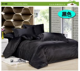 Wholesale Tencel Fabric Sheets - Black silk bedding sets solid color silk linen satin duvet cover tencel bed sheet 3pcs twin 4pcs king queen size silk bedset5146