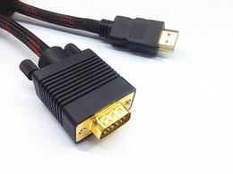 Wholesale Vga Cabling - NEW VGA HDMI GOLD MALE TO VGA HD-15 MALE Cable 1.5M 1080P HDMI-VGA M M