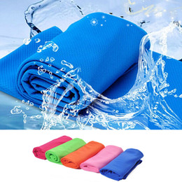 Wholesale blue cold hands - Sports Running Hiking Swimming Summer Cool Towel Cold Towel Cooling Towel PVA Hypothermia Enduracool Snap Towel Reusable 90 x 35cm