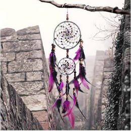 Wholesale Vintage Flocked Ornaments - Wholesale Hand Made Weave Fur Dreamcatcher Double Ring Bead Dreamcatcher Ornaments Vintage Aboriginal Indian Arts Party Decorations