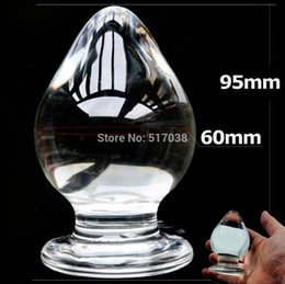 Wholesale Large Glass Sex Toys - w1029 60mm large big size glass Anal butt plug crystal beads ball dildo Sex toys for women men gay female male masturbation product