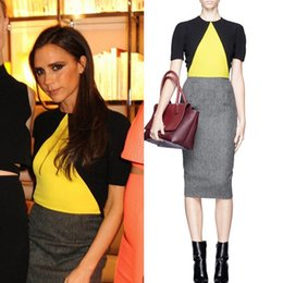 Wholesale Dresses Beckham - New 2016 Spring Summer Women Victoria Beckham Color Block Elegant Short-Sleeve Casual Pencil Dress Slim OL Women Work Wear RS88