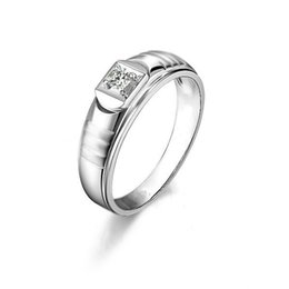Wholesale Round Cut Diamond Engagement Rings - Hot Sell Round Cut 0.4CT Men's Wedding Band Ring Created Diamond Solid 925 Sterling Silver Jewelry