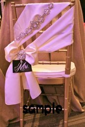 Wholesale Noble Classic - 2015 Blush Pink Chair Sashes Romantic Crystals Taffeta Chair Covers Luxurious Wedding Decorations Noble Wedding Accessories