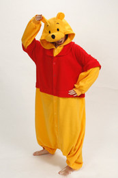 Wholesale Animals Onesie - Hot Sale new Winnie pooh Cosplay Pajamas One Piece Adult Onesie for Women Men Warm Christmas Halloween Party Pajama