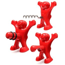 Wholesale Red Wine Stoppers - Kitchen Bar Red Happy Man Bottle Opener Wine Corks Red Bottle Stoppers Beer Wine bottle opener