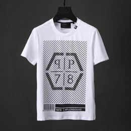 Wholesale Tshirts Slim Sleeve Mens - PLEINSQUAD Bar Code Print Casual T-Shirt Diamond Mens 3D Skull Tshirts Short Sleeve Slim Sports Polo shirt Black white Male Shirts 18730