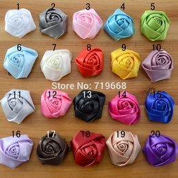 Wholesale Rolled Satin Flower - 5cm 60pcs lot 20colors Satin Rolled Fabric Rosette Rose Flower for Baby Girl Children Hair Flowers Headband Hairband Accessories