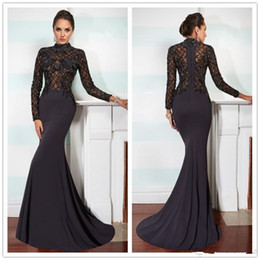 Wholesale Hot High Collar Top - Hot Black Mermaid Evening Dresses Lace Applique Top High Neck Long Sleeves Celebrity Evening Gowns Sweep Train Fashion 2016 Prom Dresses